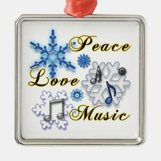Peace, Love, Music with Snowflakes Christmas Ornaments