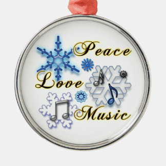 Peace, Love, Music with Snowflakes Ornament