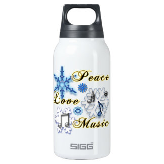 Peace, Love, Music with Snowflakes SIGG Thermo 0.3L Insulated Bottle