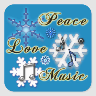 Peace, Love, Music with Snowflakes Square Stickers