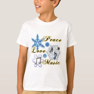 Peace, Love, Music with Snowflakes T-Shirt