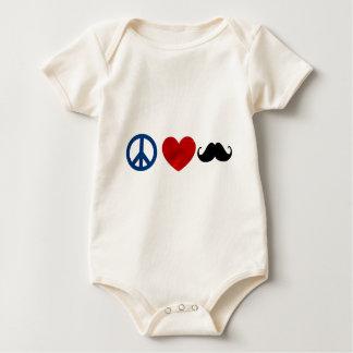 Peace, Love, Mustache Baby Bodysuit