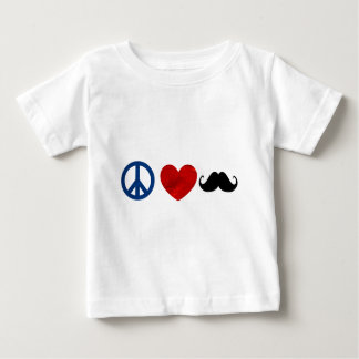 Peace, Love, Mustache Baby T-Shirt