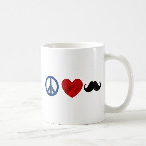 Peace, Love, Mustache Coffee Mug