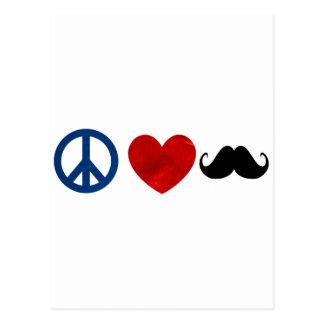 Peace, Love, Mustache Postcard