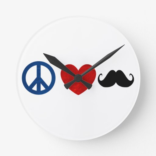 Peace, Love, Mustache Round Wallclock