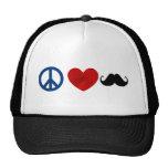 Peace, Love, Mustache Trucker Hat