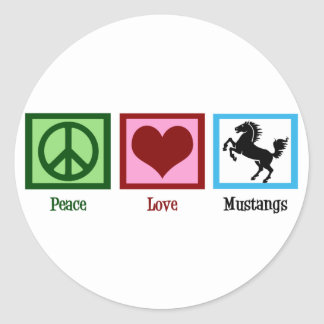 Peace Love Mustangs Classic Round Sticker