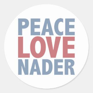 Peace Love Nader Classic Round Sticker