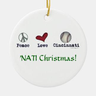 Peace Love NATI (Cincinnati) Christmas Ornament