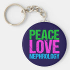 Peace Love Nephrology Keychain