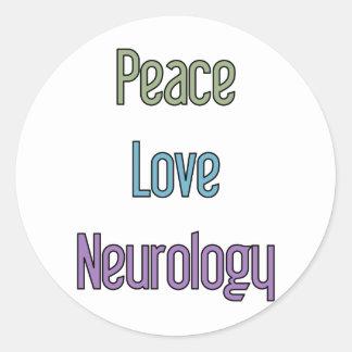 Peace, Love, Neurology Classic Round Sticker