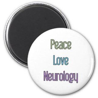 Peace, Love, Neurology Fridge Magnet
