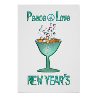 Peace Love New Year's Poster