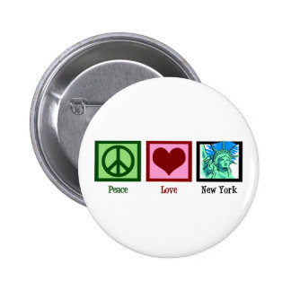 Peace Love New York Button