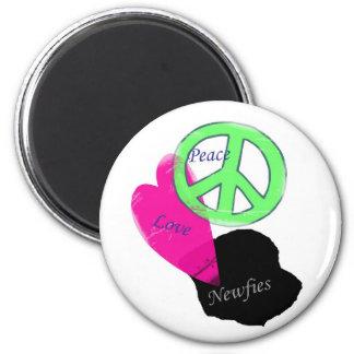 Peace Love & Newfies Fridge Magnet