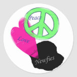 Peace Love & Newfies Stickers