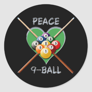 PEACE LOVE NINE BALL CLASSIC ROUND STICKER