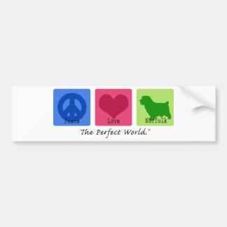 Peace Love Norfolk Terrier Bumper Sticker