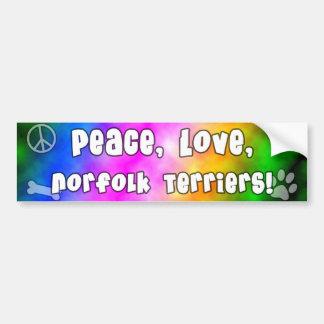 Peace Love Norfolk Terriers Bumper Sticker