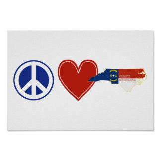 Peace Love North Carolina Poster