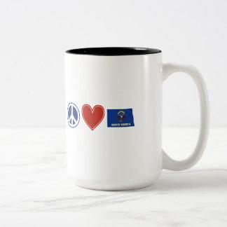 Peace Love North Dakota Two-Tone Coffee Mug