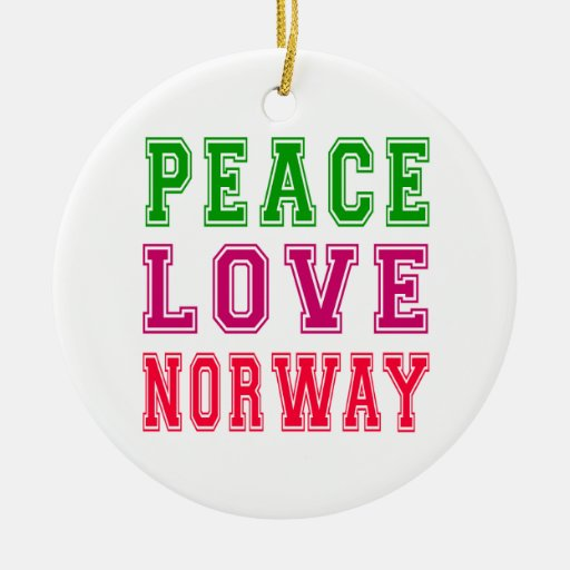 Peace Love Norway. Double-Sided Ceramic Round Christmas Ornament