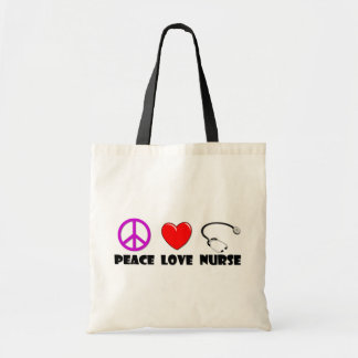 Peace Love Nurse Budget Tote Bag