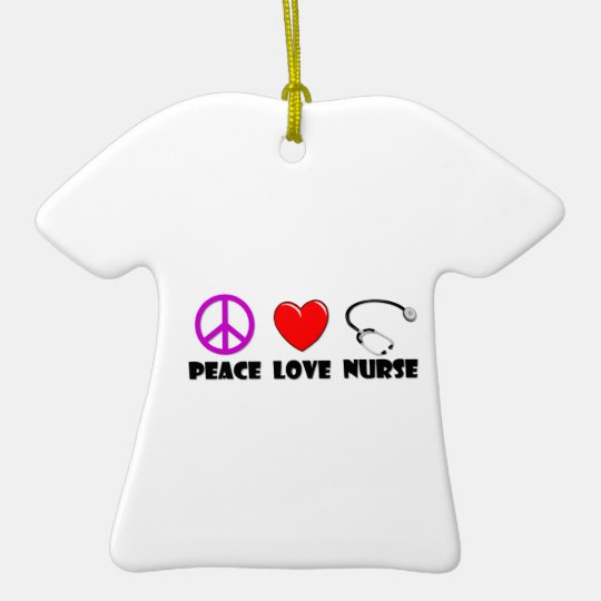 Peace Love Nurse Ceramic Ornament