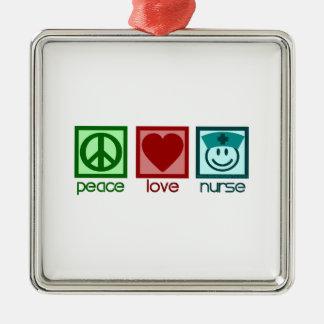 Peace Love Nurse Christmas Tree Ornaments