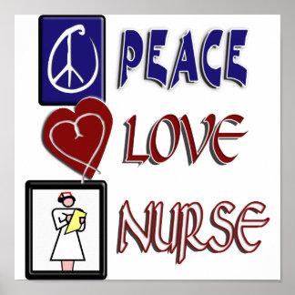 PEACE LOVE NURSE POSTER