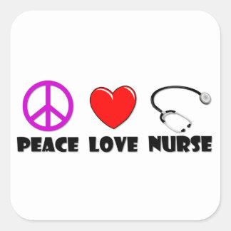 Peace Love Nurse Square Sticker