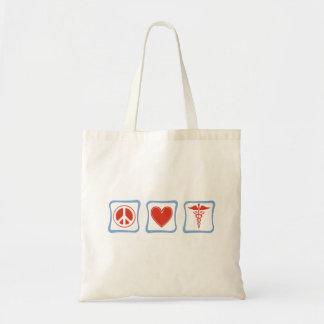 Peace Love Nurses Squares Tote Bag