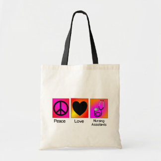 Peace Love Nursing Assistant Pink and Orange Tote Bags