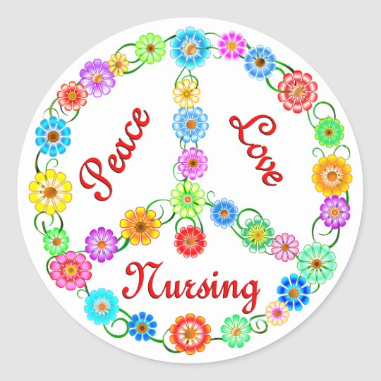 PEACE LOVE NURSING CLASSIC ROUND STICKER