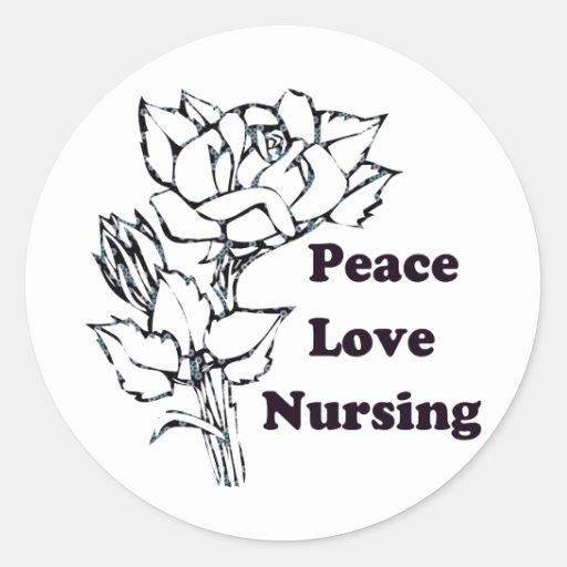 Peace, Love, Nursing Classic Round Sticker