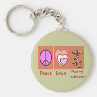 """""""Peace, Love, Nursing Instructor"""" Gifts Keychain"""