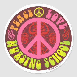 Peace, Love, Nursing School Classic Round Sticker