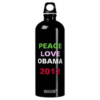 Peace Love OBAMA 2012 Campaign Aluminum Water Bottle