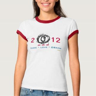 Peace Love OBAMA 2012 Ringer T-Shirt