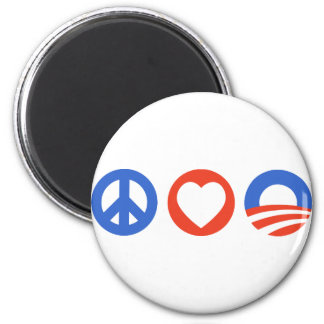 Peace Love Obama 2 Inch Round Magnet