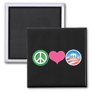 Peace, Love, Obama 2 Inch Square Magnet