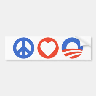 Peace Love Obama Bumper Sticker