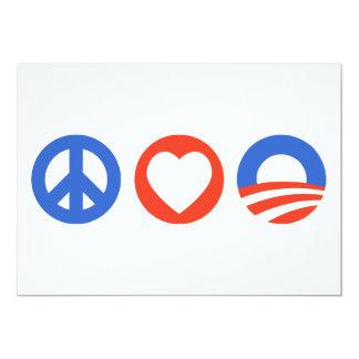Peace Love Obama Card