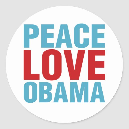 Peace Love Obama Classic Round Sticker
