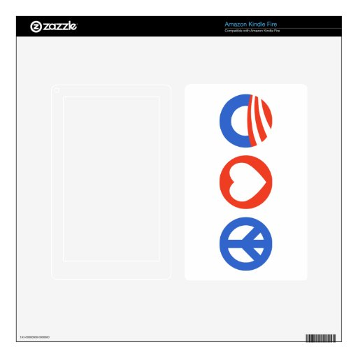 Peace Love Obama Decals For Kindle Fire