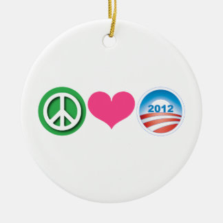 Peace, Love, Obama Double-Sided Ceramic Round Christmas Ornament
