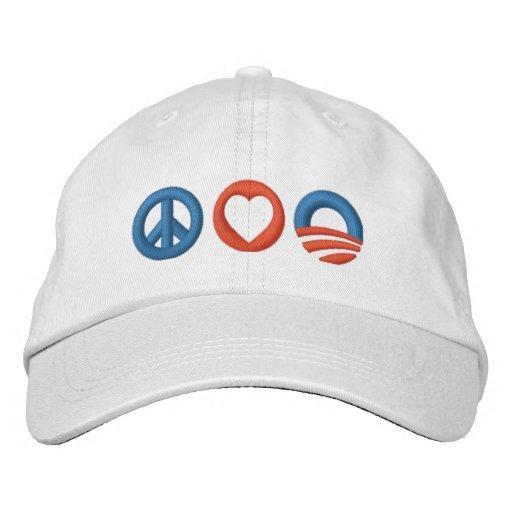 Peace Love Obama Embroidered Baseball Caps