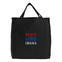 PEACE, LOVE, OBAMA EMBROIDERED TOTE BAG