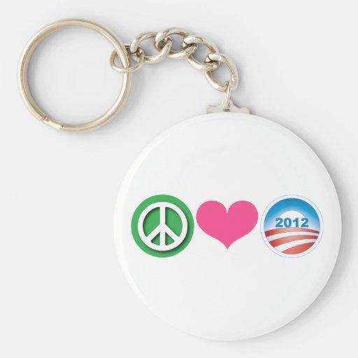 Peace, Love, Obama Key Chains